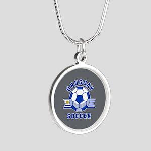 Uruguay Soccer Silver Round Necklace