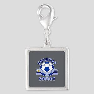 Uruguay Soccer Silver Square Charm