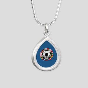Soccer 2018 Silver Teardrop Necklace