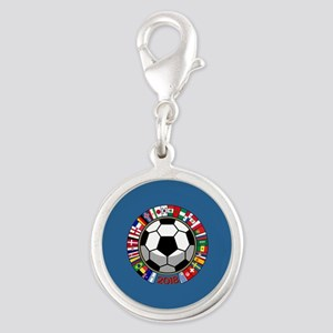 Soccer 2018 Silver Round Charm