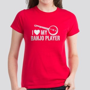 I Love My Banjo Player Women's Dark T-Shirt