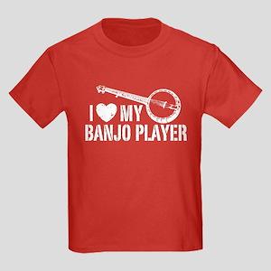 I Love My Banjo Player Kids Dark T-Shirt
