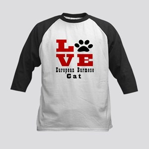 Love european burmese Cats Kids Baseball Jersey