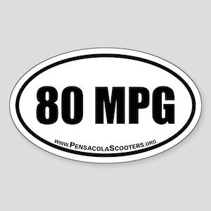 80 mpg Oval Euro Sticker