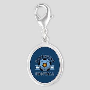 Argentina Football Silver Oval Charm
