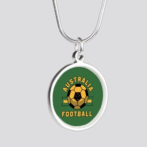 Australia Football Silver Round Necklace