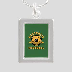 Australia Football Silver Portrait Necklace