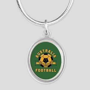 Australia Football Silver Oval Necklace