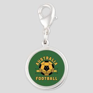 Australia Football Silver Round Charm
