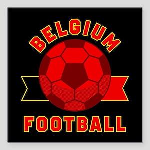 """Belgium Football Square Car Magnet 3"""" x 3"""""""