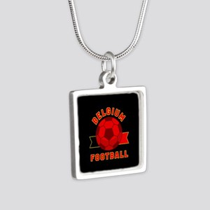Belgium Football Silver Square Necklace
