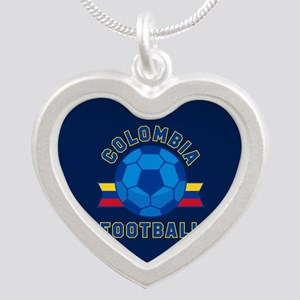 Colombia Football Silver Heart Necklace
