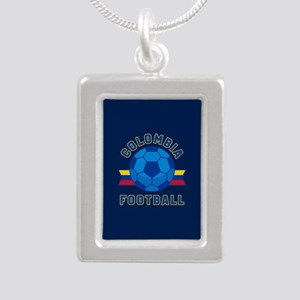 Colombia Football Silver Portrait Necklace