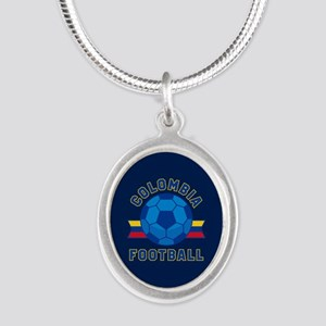 Colombia Football Silver Oval Necklace