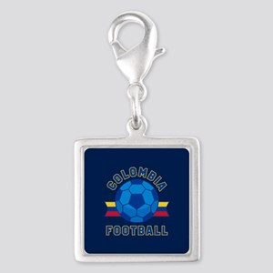 Colombia Football Silver Square Charm