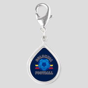 Colombia Football Silver Teardrop Charm