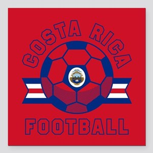 "Costa Rica Football Square Car Magnet 3"" x 3"""