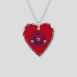 Costa Rica Football Necklace Heart Charm