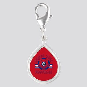 Costa Rica Football Silver Teardrop Charm