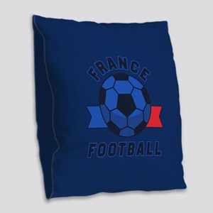 France Football Burlap Throw Pillow