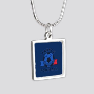 France Football Silver Square Necklace