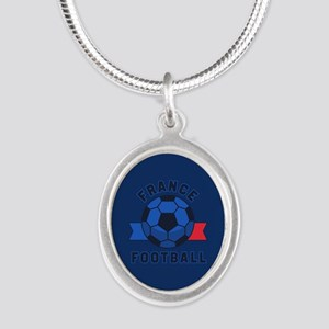 France Football Silver Oval Necklace