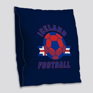 Iceland Football Burlap Throw Pillow