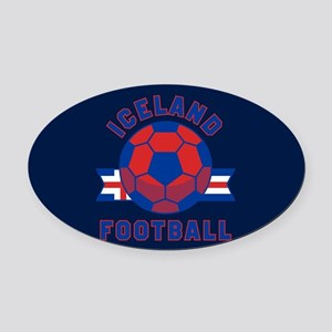 Iceland Football Oval Car Magnet
