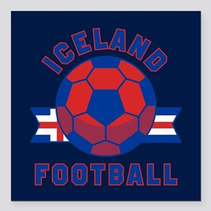"""Iceland Football Square Car Magnet 3"""" x 3"""""""