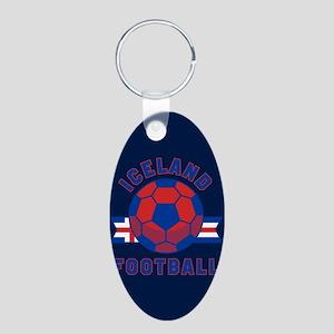 Iceland Football Aluminum Oval Keychain