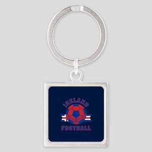 Iceland Football Square Keychain