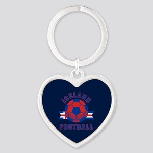 Iceland Football Heart Keychain