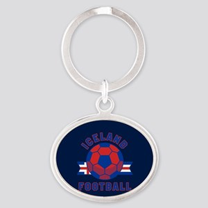 Iceland Football Oval Keychain