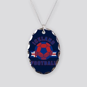 Iceland Football Necklace Oval Charm