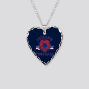 Iceland Football Necklace Heart Charm