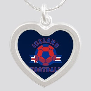 Iceland Football Silver Heart Necklace