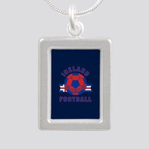 Iceland Football Silver Portrait Necklace