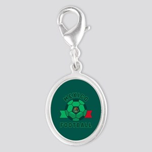 Mexico Football Silver Oval Charm