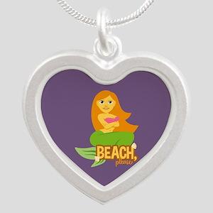Emojione Mermaid Beach Pleas Silver Heart Necklace