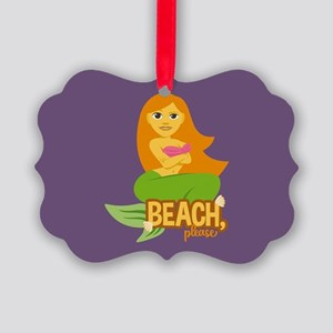 Emojione Mermaid Beach Please Picture Ornament