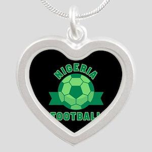 Nigeria Football Silver Heart Necklace
