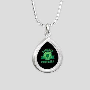 Nigeria Football Silver Teardrop Necklace