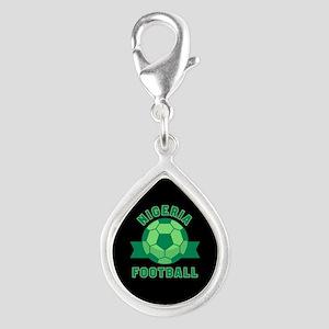 Nigeria Football Silver Teardrop Charm