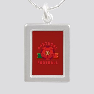 Portugal Football Silver Portrait Necklace