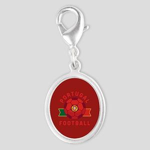 Portugal Football Silver Oval Charm