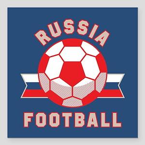 "Russia Football Square Car Magnet 3"" x 3"""