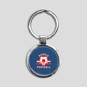 Russia Football Round Keychain