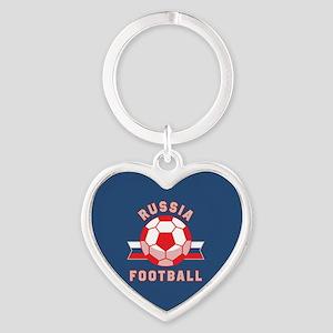 Russia Football Heart Keychain