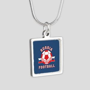 Russia Football Silver Square Necklace