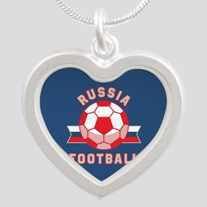 Russia Football Silver Heart Necklace